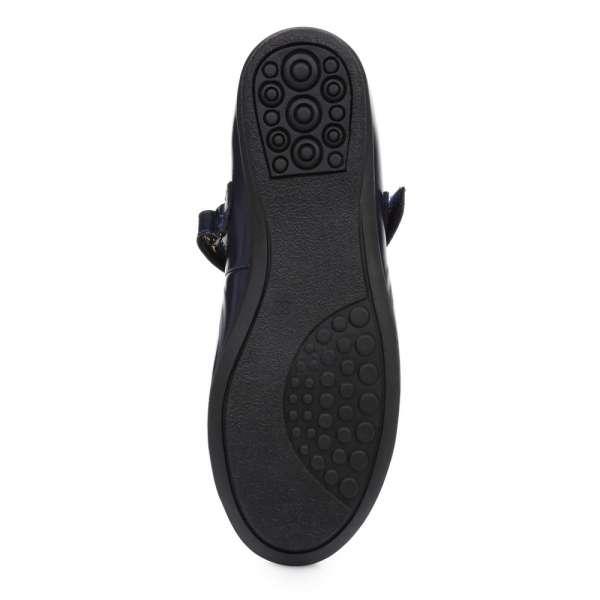 Туфли кожаные лакированные синие с бантом