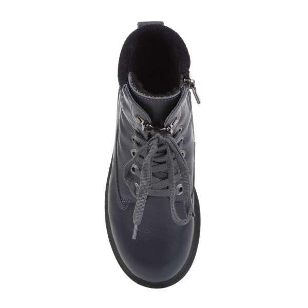 Ботинки кожаные на меху синие