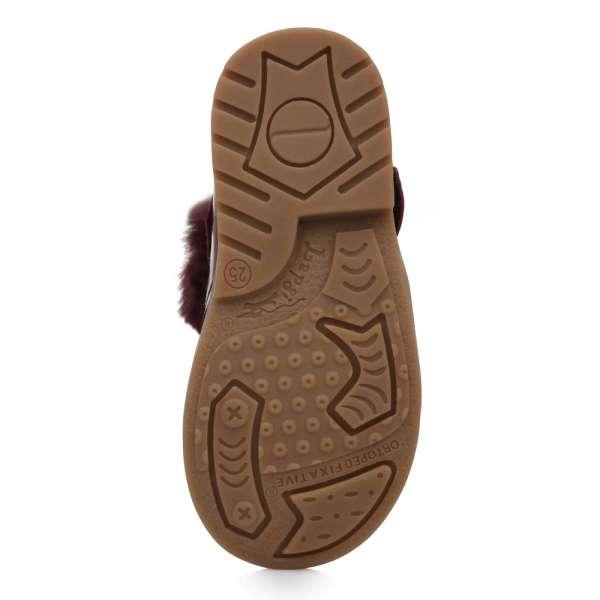 Ботинки кожаные лакированные бордовые съемная муфта