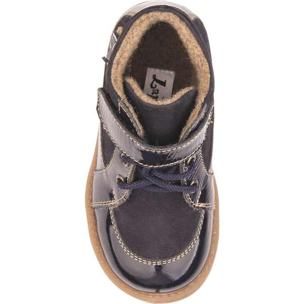 Ботинки на шнуровке и липучке синиий лак