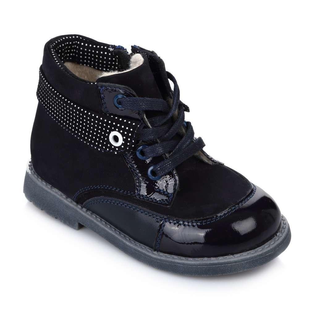 Ботинки на шнуровке и молнии синиий нубук