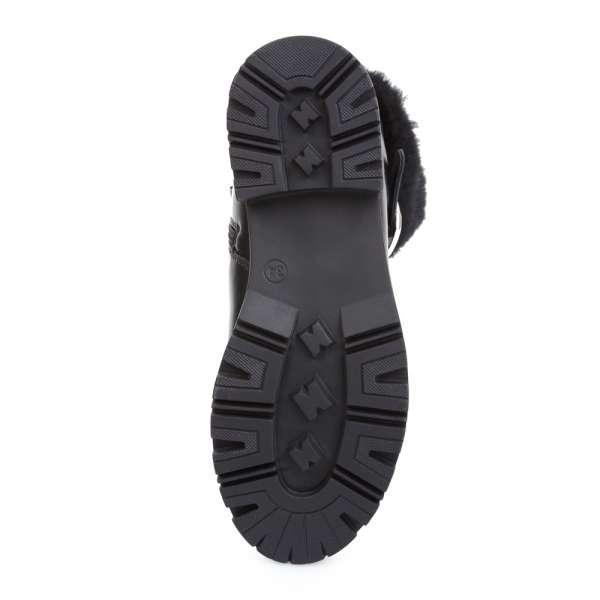 Кожаные ботинки на меху с манжетой