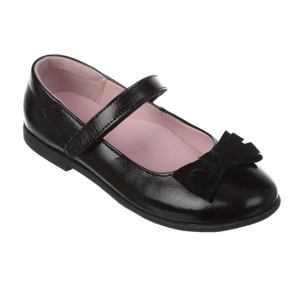Туфли кожаные лаковые черные с бантом