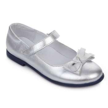Туфли кожаные серебряные с бантом