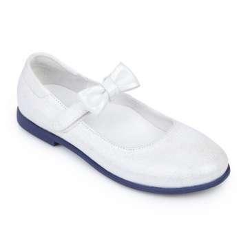 Туфли кожаные белый блеск на липучке съёмный бант