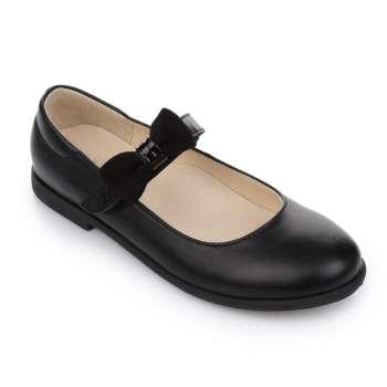 Туфли кожаные черные на липучке съёмный бант