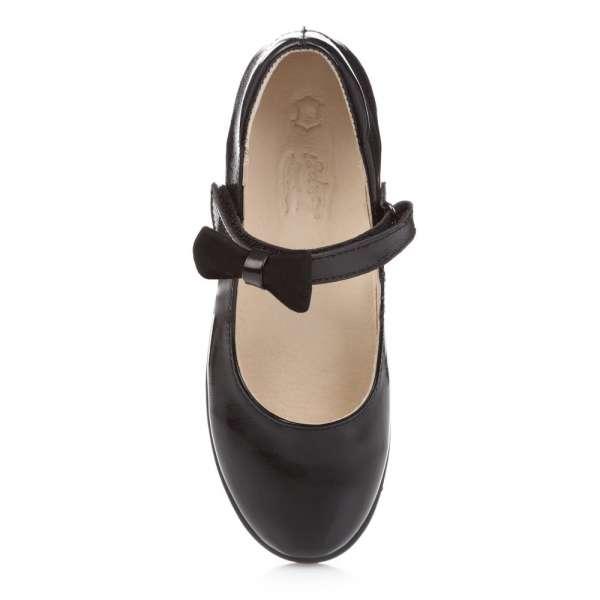 Туфли кожаные лакированные на липучке съёмный бант