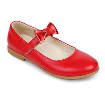 Туфли кожаные красные на липучке съёмный  бант