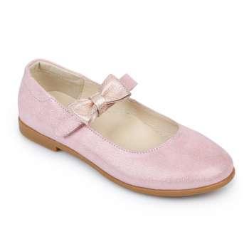 Туфли кожаные розовые на липучке съёмный бант