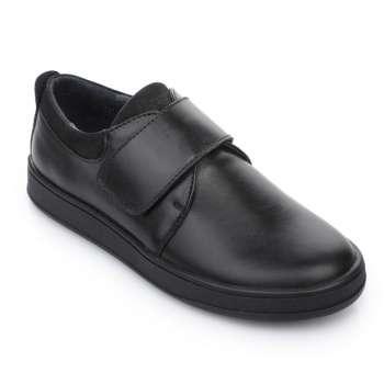 Слипоны кожаные на липучке черные