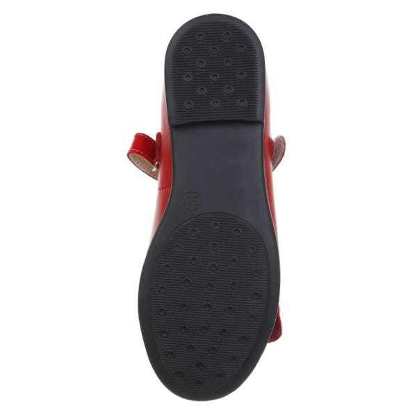Туфли кожаные с оборками красные