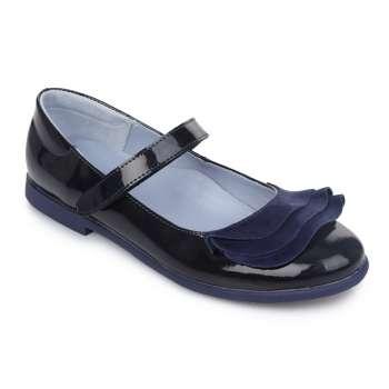 Туфли кожаные с оборками синий лак