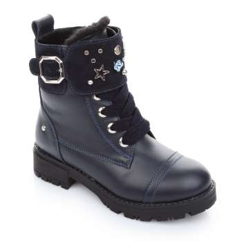 Ботинки кожаные с манжетом на меху