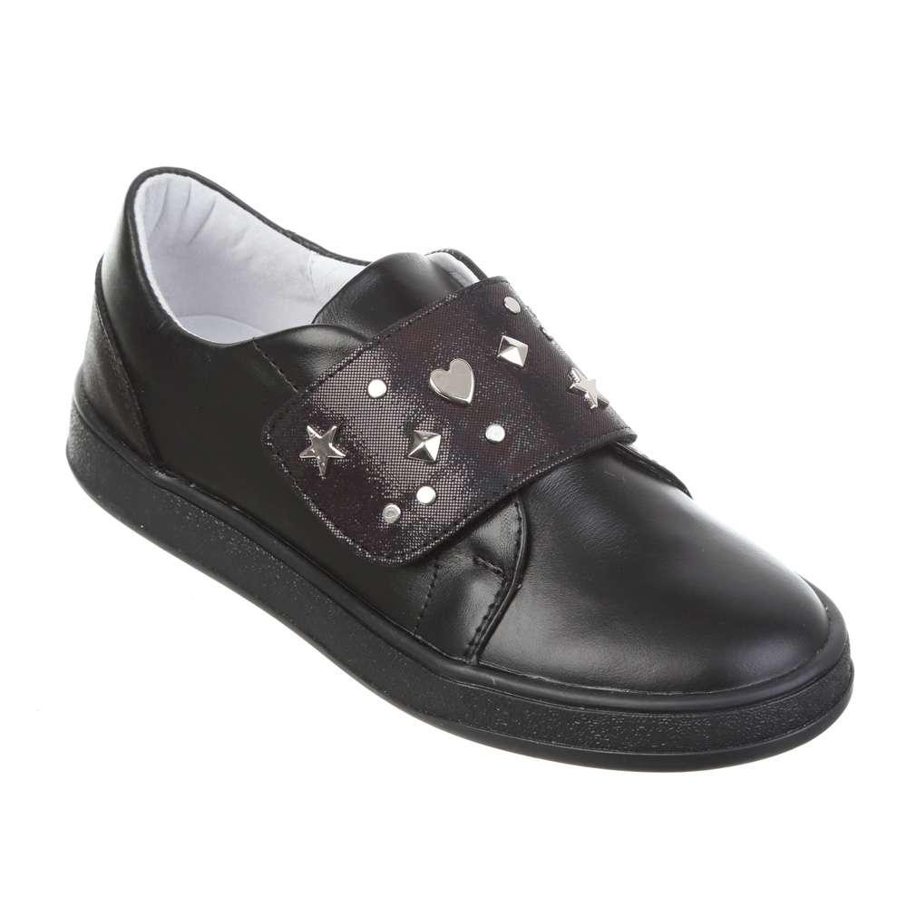 Слипоны кожаные на широкой липучке черная подошва