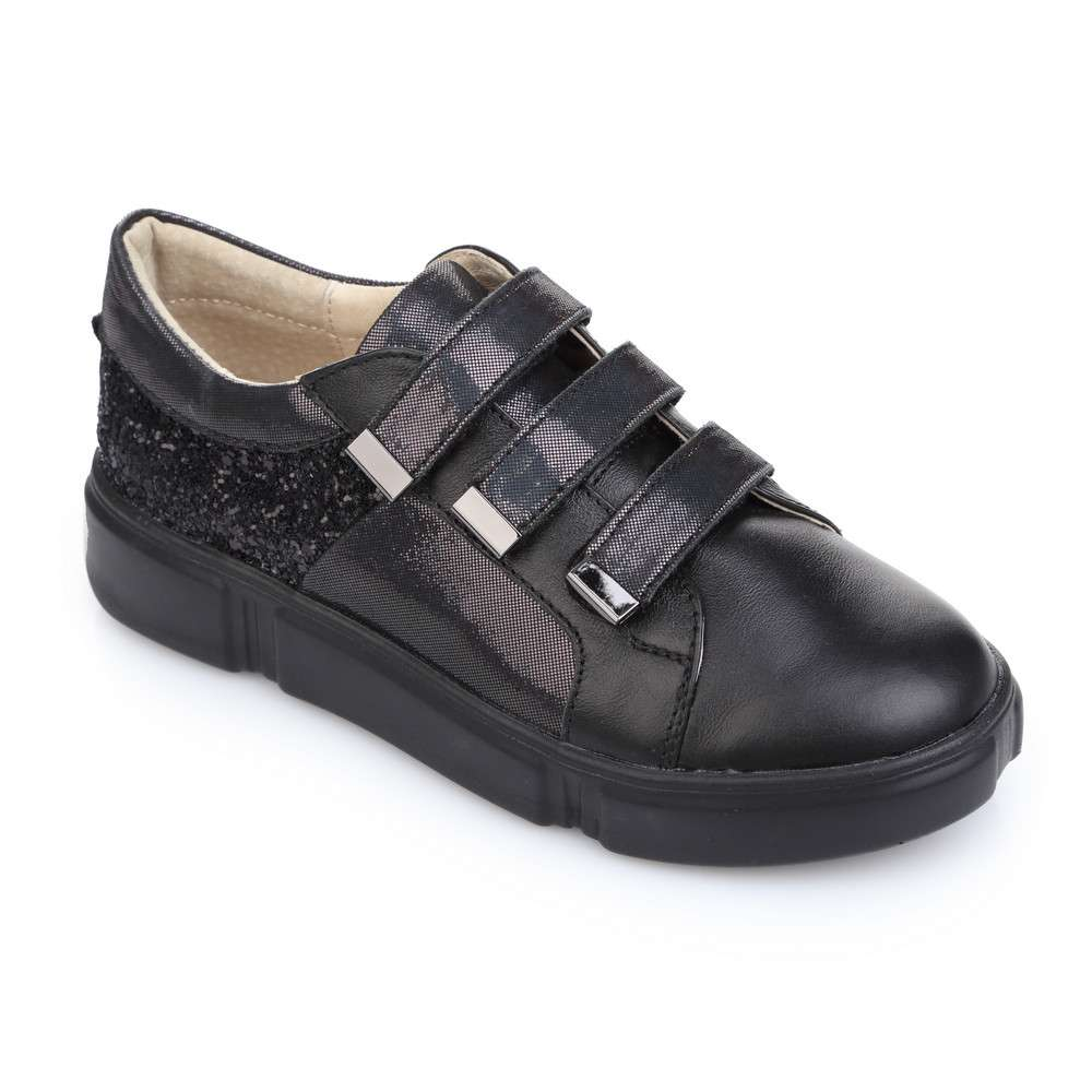 Кожаные кроссовки с глиттером