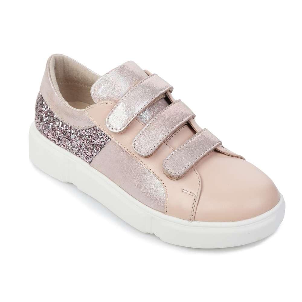Кожаные розовые кроссовки с глиттером