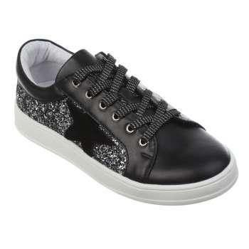 Кожаные черные кроссовки с глиттером