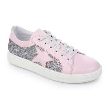 Кожаные розовые кроссовки с глиттером звезда