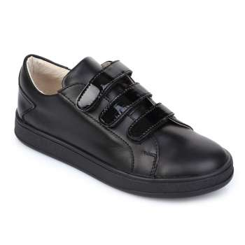 Кожаные кроссовки на трех липучках