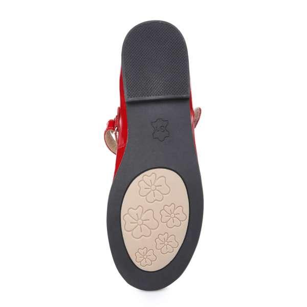 Кожаные лаковые туфли на липучке красные