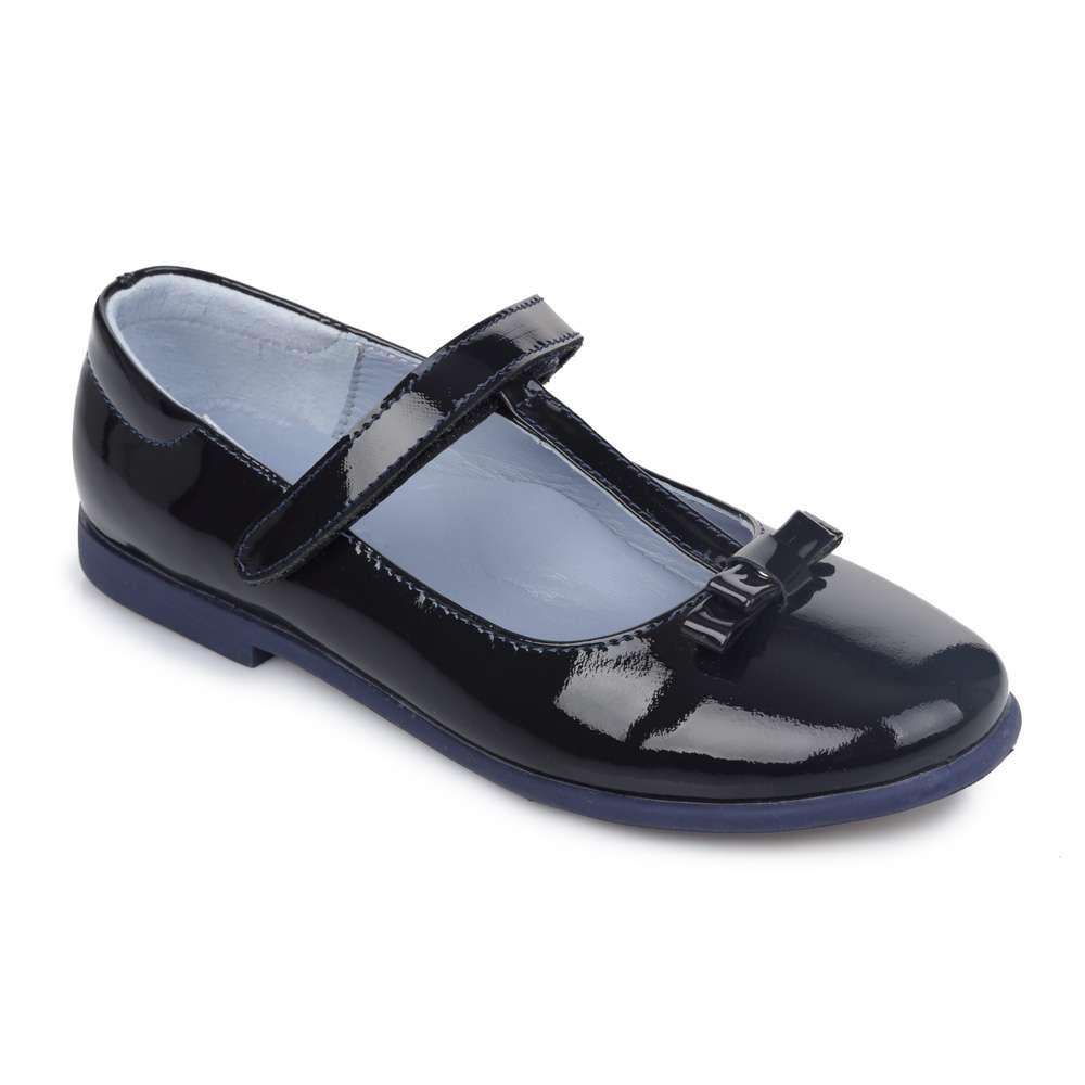 Кожаные лаковые туфли на липучке синие