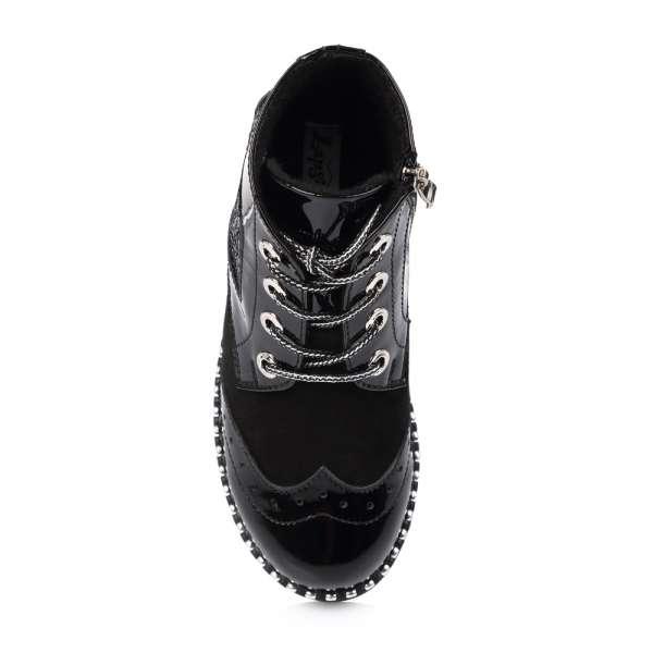 Ботинки натуральные лакированные на шнуровке