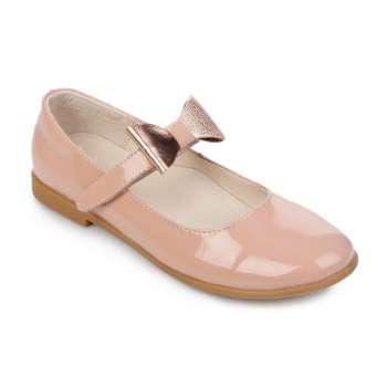 Туфли лаковые на липучке съемный бант