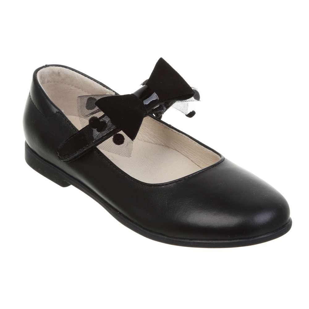 Туфли кожаные на липучке съемный бант