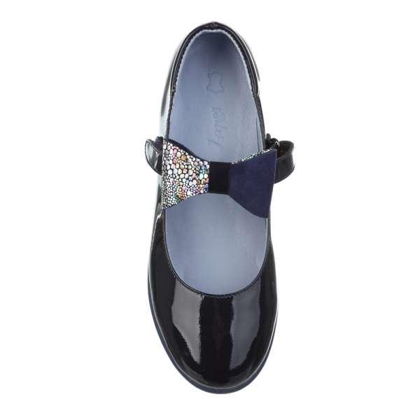 Туфли кожаные лаковые со съемным бантом