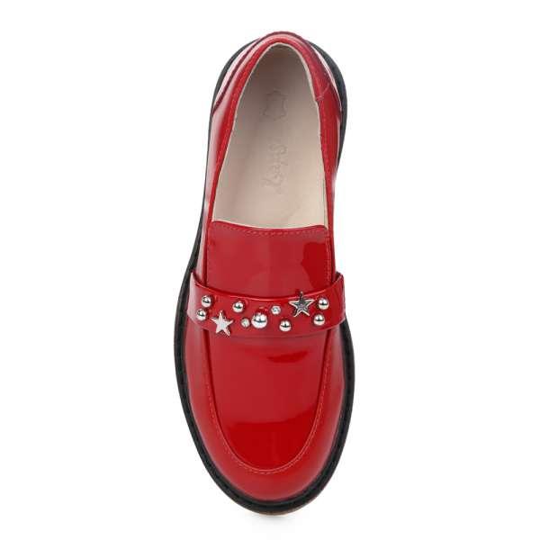 Лоферы кожаные красные