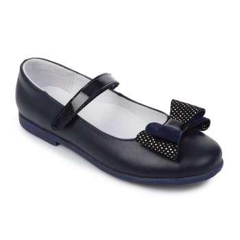 Туфли кожаные синие с бантом