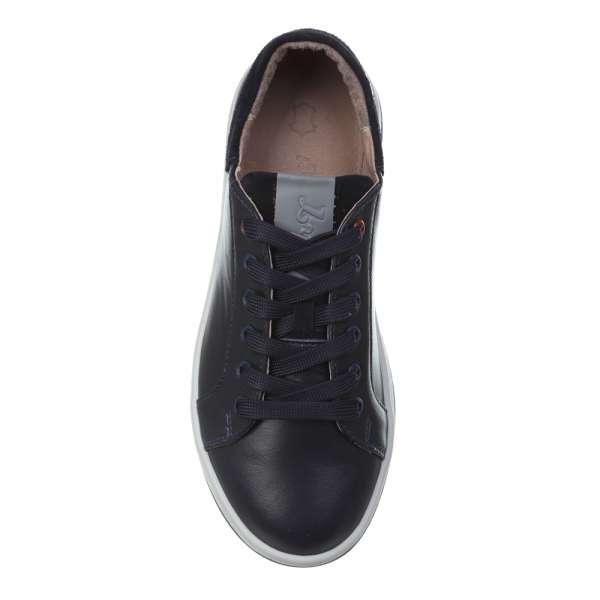 Кроссовки кожаные синие на шнуровке