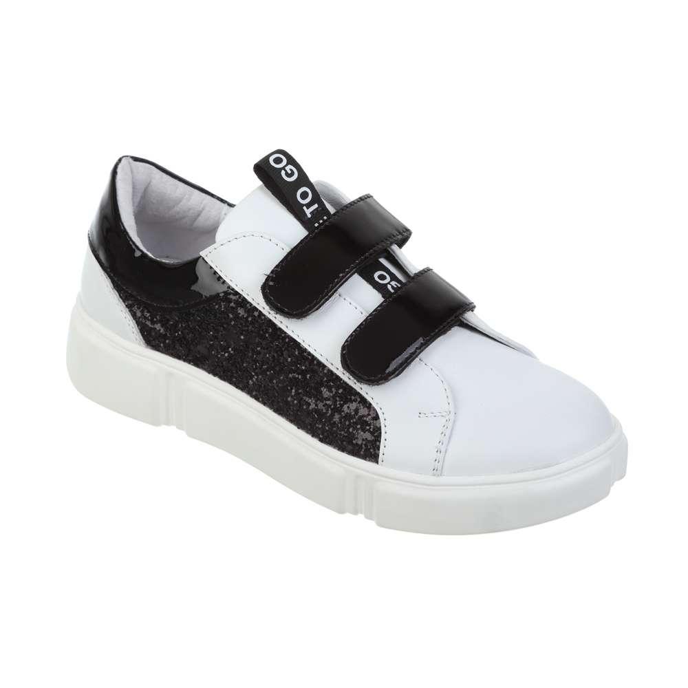 Кожаные бело-черные кроссовки
