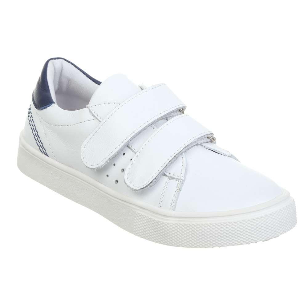Шкіряні білі кросівки на двох липучках