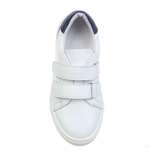 Кожаные белые кроссовки на двух липучках
