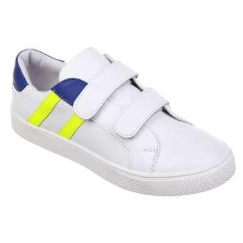 Кожаные кроссовки на двух липучках