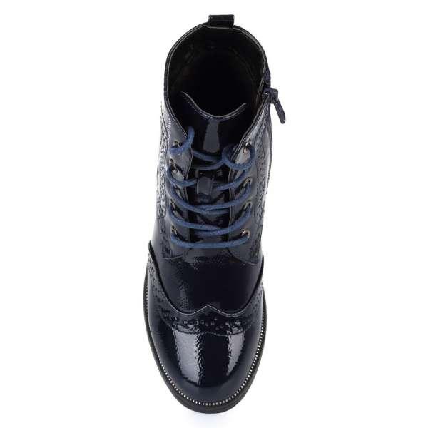 Синие лаковые ботинки