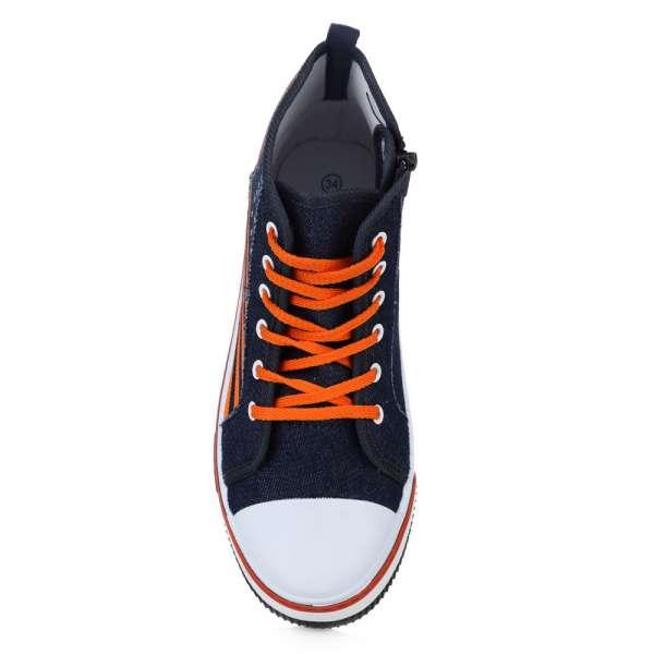 Высокие кеды оранжевые полоски