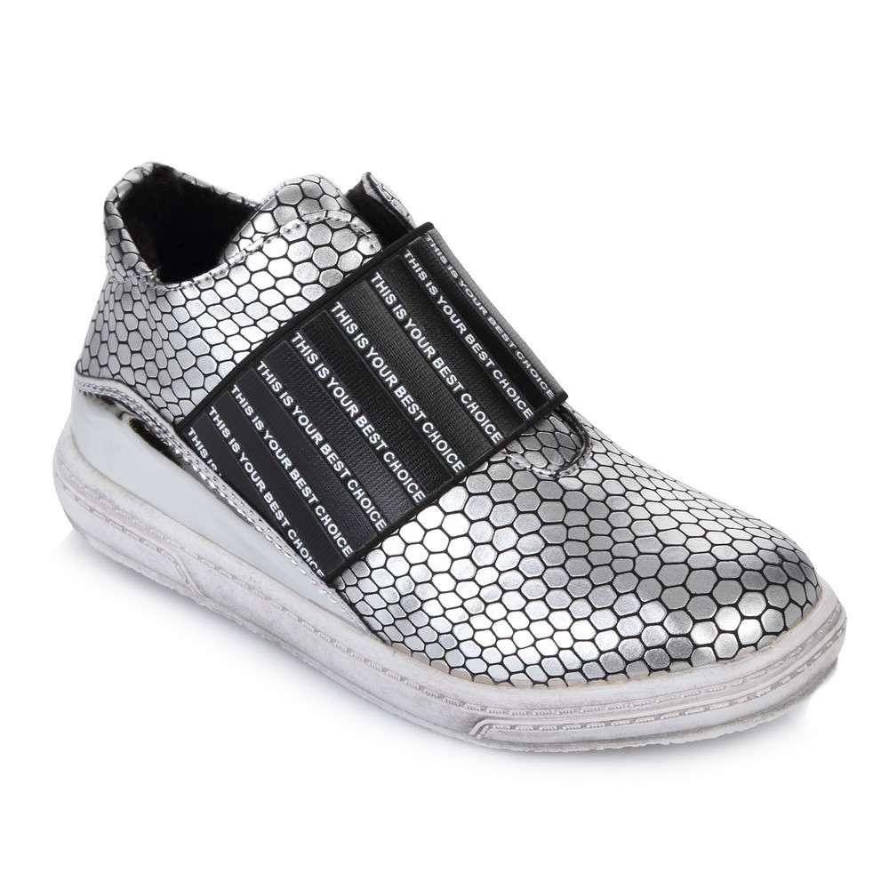 Срібні черевики на резинці