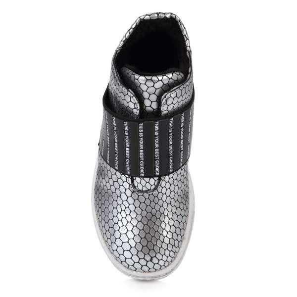 Серебристые ботинки на резинке
