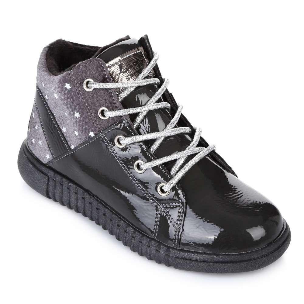 Ботинки серый лак