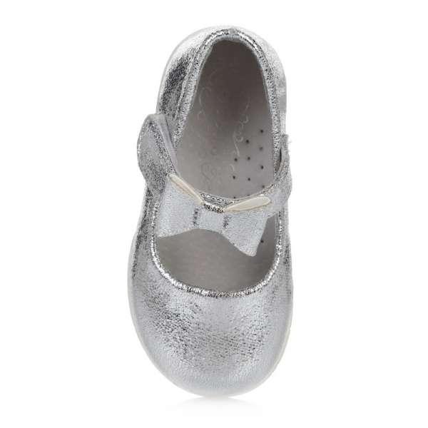 Серебристые туфельки с бантом на липучке