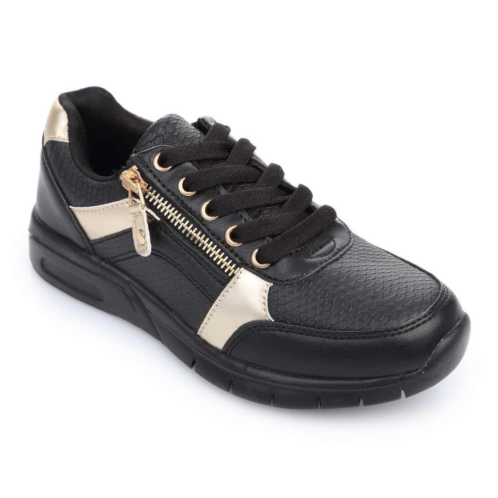 Кроссовки на шнуровке и молнии черные
