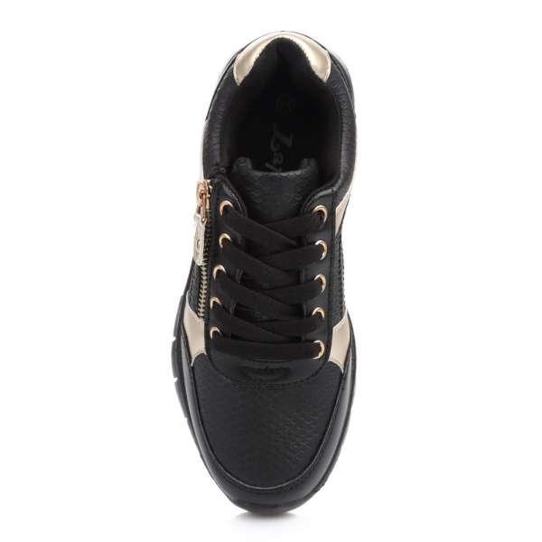 Кросовки на шнуровке и молнии черные