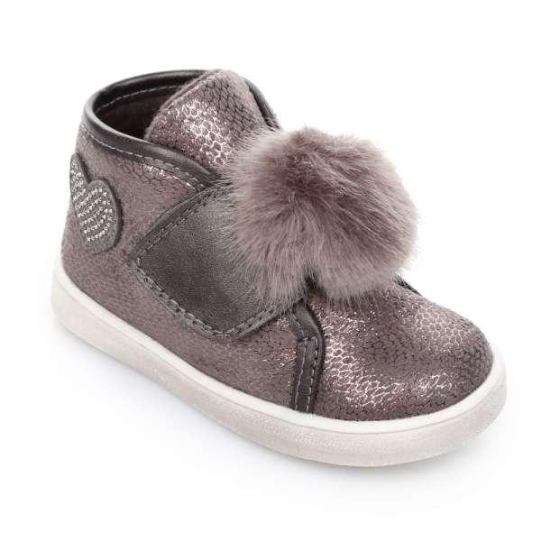Ботинки на липучке с помпоном