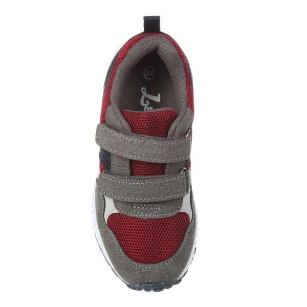 Кроссовки на липучках серо-красные