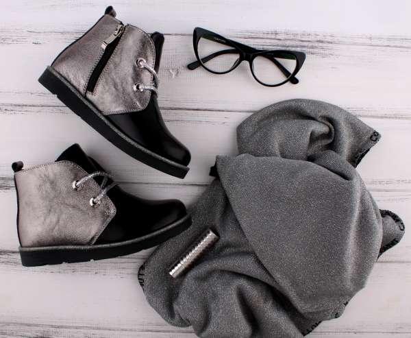 Ботинки кожаные  на шнуровке