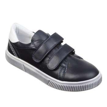 Кожаные синие кроссовки на двух липучках