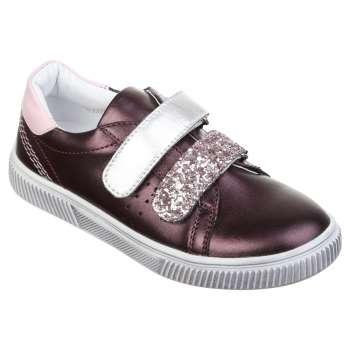 Кожаные кроссовки фиолетовые на липучках