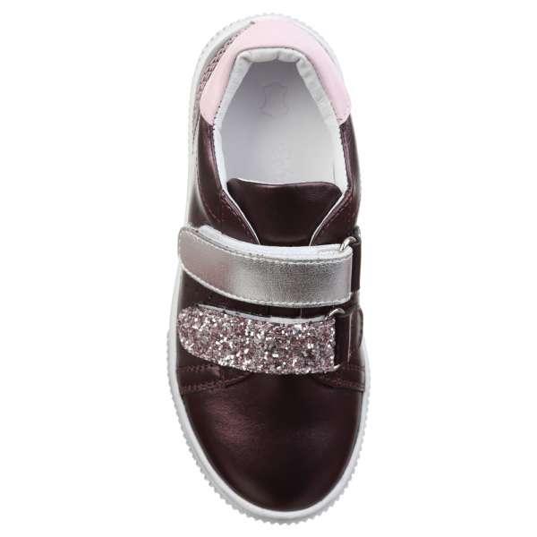 Шкіряні кросівки фіолетові на липучках
